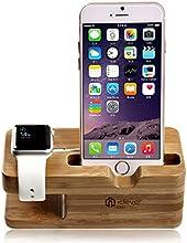 iClever® IC-WS03 Support pour Téléphone et Apple Watch en Bambou Stand de Recharge / Station de Recharge / Chargeur Support pour 38 / 42mm Apple Watch Toutes Les Modèles et Tout Les Téléphones mobiles