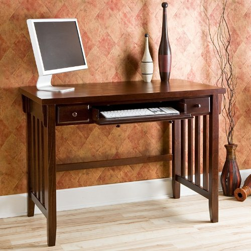 Buy Low Price Comfortable Mission Style Espresso Computer Desk w/ Pullout Drawers (B0034TB26U)
