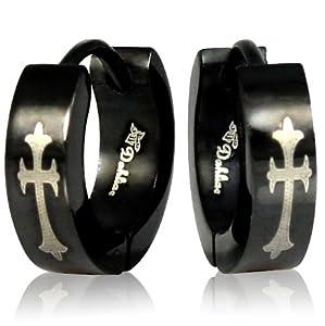 Black Stainless Steel Cross Black Huggie Hoop Earrings