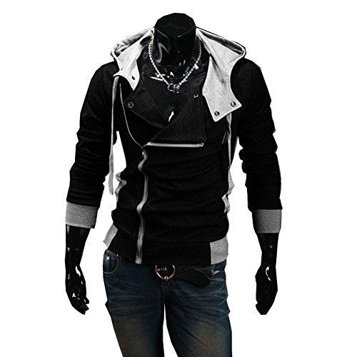Men's Fashion Oblique Zipper Hoodie Casual Top Coat Slim Fit Jacket Medium,DarkGray