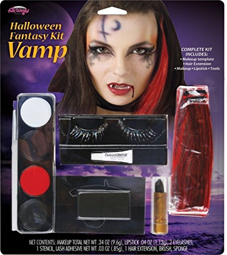 [Vamp Vampire Face Paint Eyelashes Makeup Cosplay Halloween Costume Accessory Kit] (50s Make Up)