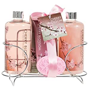Cherry Blossom Spa Gift Set in Stainless Steel Caddy