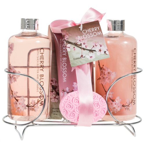cherry-blossom-spa-gift-set-in-stainless-steel-caddy-enriched-with-shea-butter-and-vitamin-e