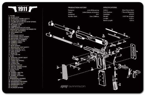 1911 Handgun Pistol Gun Cleaning Mat