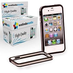 Tasche Schwarz Rahmenschutz Gummi Bumper für iPhone 4G 4S, dünn Cover, attraktive Rückschale, Smart Schmale Case, Qualität Backcover Protektor, Schutzhülle