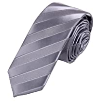 PS1070 Silver Personalised Slim Tie Matching Gift Box Set Stripes Silk SlimTie By Epoint