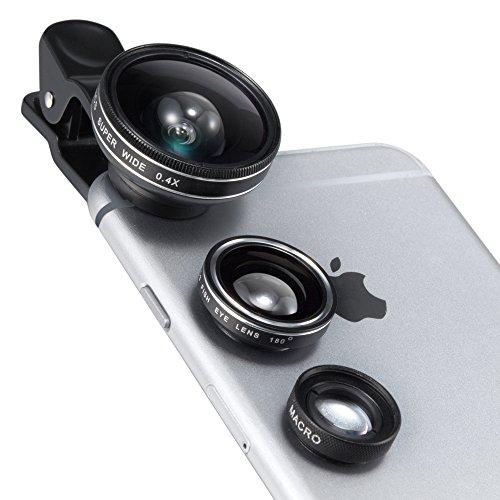 Lenti Kit 3-in-1 Clip-on TaoTronics Fotocamera Cellulare  Professionale, Obiettivo Fisheye, Grandangolo, Macro per iPhone, iPad,Galaxy, Smartphone, laptop