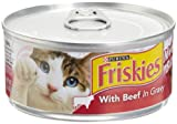 Friskies Cat Food Meaty Bits with Beef in Gravy, 5.5-Ounce Cans (Pack of 24)