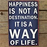Metal Sign Happines Is A Way Of Life - 20 X 30 Navy Wall Signby Carousel Home