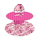 2 Tier Cup Cake Stand in Pink Fairy for Muffins, Cupcakes & Party - Cake Decorating Stand
