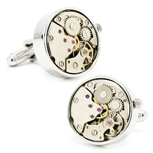 Silver Watch Movement Cufflinks Cuff Links Functioning Steampunk Steam Punk Gears Works Working