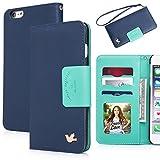 iPhone 6 plus case,(5.5)By HiLDA,Wallet Case,PU Leather Case,Credit Card Holder,Flip Cover Skin[Blue]