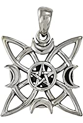 Silver Witches Knot Moon Phase Pentacle Pendant - Wiccan Pagan Jewelry