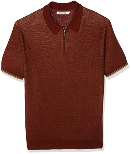 Ben Sherman Tonic Zip, Polo Uomo, Orange (Dark Rust), X-Large