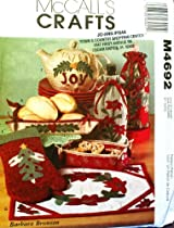 OOP McCalls Crafts Pattern M4692. Christmas Gift Items: Fabric Baskets/bowls, Oven Mitt, Tea Cozy Cover, Placemat & Bottle Bags