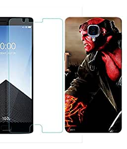 Indiashopers Combo of Hellboy HD UV Printed Mobile Back Cover and Tempered Glass For OnePlus 3