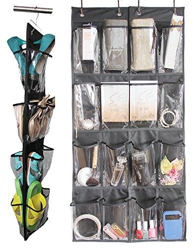 misslo 16 clear pockets over the door shoe organizer hanging closet storage apparel accessories. Black Bedroom Furniture Sets. Home Design Ideas