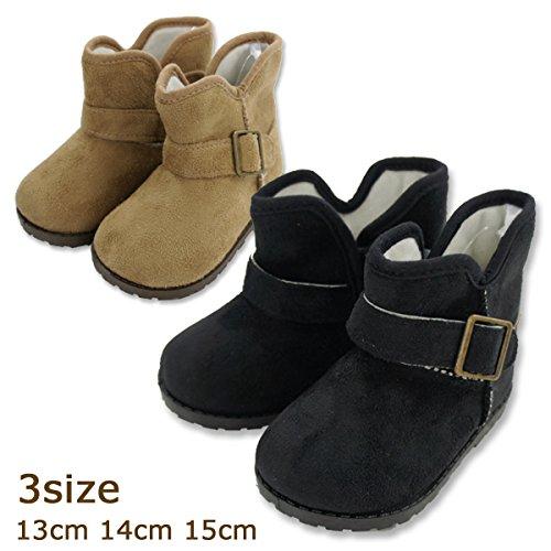 【new】男女OK!エンジニアショートブーツ(13cm・14cm・15cm)【子供靴・キッズ・ベビー】 ベージュ・ブラック スエード(n-84152-b31) (15.0cm, ブラック)