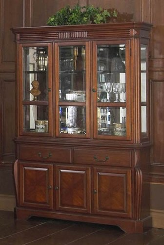 Cheap China Cabinet Buffet Hutch with Reeded Design in Brown Cherry Finish (VF_AP-601-5-6)