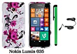 Nokia Lumia 635 (US Carrier: T-Mobile, MetroPCS, and AT&T) Premium Pretty Design Protector Cover Case + Car Charger + 1 of New Assorted Color Metal Stylus Touch Screen Pen (A String Of Straight Red Flower On White)
