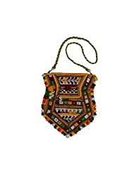 Craftuno Hand Embroidered Sling Bag With Flap - Multicolor (62001)