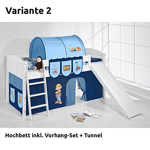 Hochbett Spielbett IDA Bob der Baumeister, mit Rutsche und Vorhang, weiß, Variante 2
