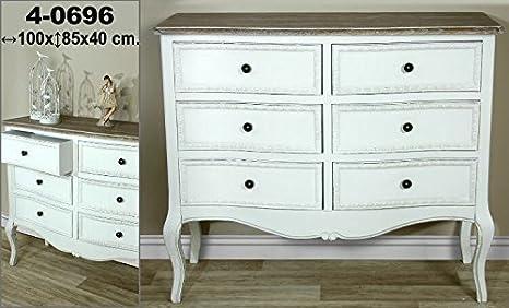 DonRegaloWeb - Mueble cómoda de madera de 6 cajones en color blanco decape con tablero marrón claro estilo vintage