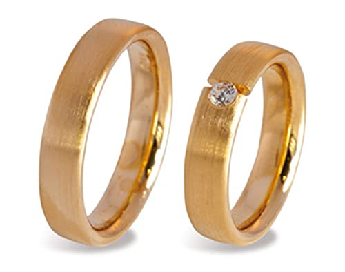 2 Wedding Rings / Friendship Rings CC49305001 750 Gold with Zirconia
