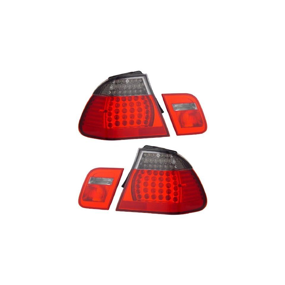 BMW 3 SERIES E46 02 04 4 DR LED TAIL LIGHT RED/SMOKE 4 PCS NEW