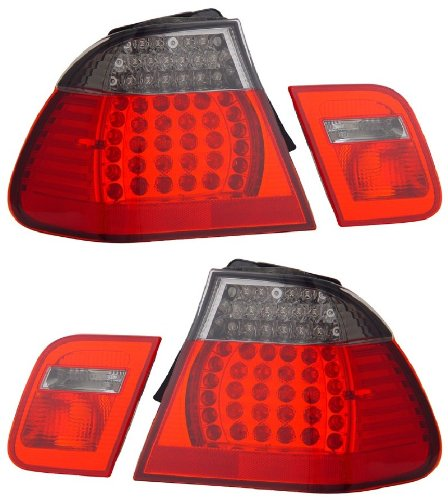 Bmw 3 Series E46 02-04 4 Dr Led Tail Light Red/Smoke 4 Pcs New