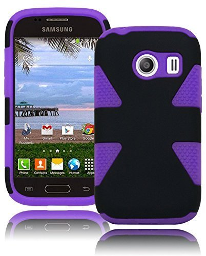 Galaxy Ace Style Phone Case, Bastex Hybrid Heavy Duty Hard Dynamic Black Case Cover with Protective Soft Purple Silicone Design for Samsung Galaxy Ace Style S765C (Galaxy Ace Style Silicone Case compare prices)