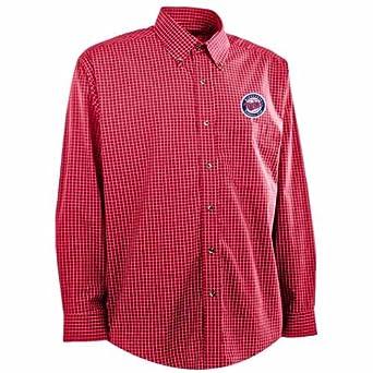 Minnesota Twins Long Sleeve Dress Shirt - MLB Antigua Mens Esteem Button Down Dark... by Antigua