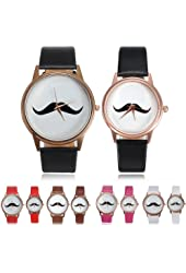 "Fashion Mustache Quartz Wrist Leather Band ""Brown""Small Watch"