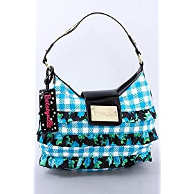 Betsey Johnson The Small Hobo in Blue Rosey Ruffles,Bags (Handbags/Totes) for Women