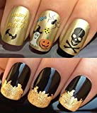 NAIL ART SET #484. A SHEET OF WATER NAIL TRANSFERS & A LARGE GOLD LEAF SHEET FOR CUSTOM DESIGNED NAIL! HAPPY HALLOWEEN BAT/SPIDER/SKULL & CROSSBONES/GHOST/WITCH HAT/PUMPKIN & TRICK OR TREAT LOOT SWEETS WATER WRAP/STICKERS/DECALS & STUNNING 24KT GLIZZY GO