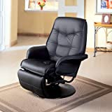 Coaster Furniture Leatherette Swivel Recliner in Black