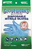 AMMEX - GWN10PK-S - Nitrile Gloves - Gloveworks - 10/pack, Disposable, Powder Free, 4 mil, Uni-size, Blue (Pack of 10)