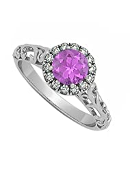 Amethyst And Cubic Zirconia Halo Filigree Engagement Ring In 925 Sterling Silver