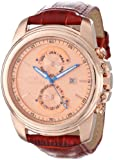 Invicta Men's 15125 Specialty Rose Gold Tone Dial Brown Leather Band Watch