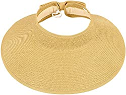 TAUT Women's Roll up Wide Brim Straw Hat Visor with Bow,Beige