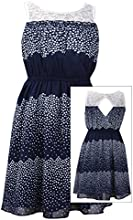 Tween Big Girls 7-16 Navy-Blue Colorblock Dot Print Illusion Lace Chiffon Dress