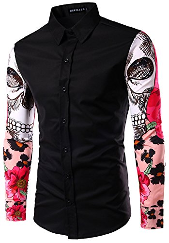 What Lees Mens Fashion Luxury Casual Slim Fit Stylish Long Sleeve Dress Shirts Skull Rose Print B029-black-XL