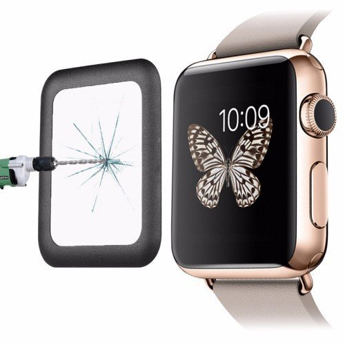 Black 0.2mm 8-9H Surface Hardness Metal Full-covered Tempered Glass Film for Apple Watch 42mm