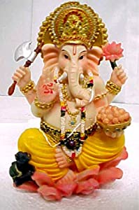 Brightly Colored Ganesha Hindu Wisdom God Statue Ganesh