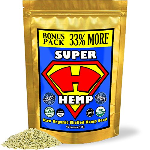 Super Hemp Raw Shelled Organic Hemp Seeds W/ Omega 3 & 6 (1 Lb Bonus-Pack). Essential Fatty Acids Alpha-Linolenic & Linoleic In A Balanced 3:1 Ratio. High Protein Super Hempseed Contains 20 Amino Acids And Dietary Fiber. Delicious Buttery Flavor Will Enha