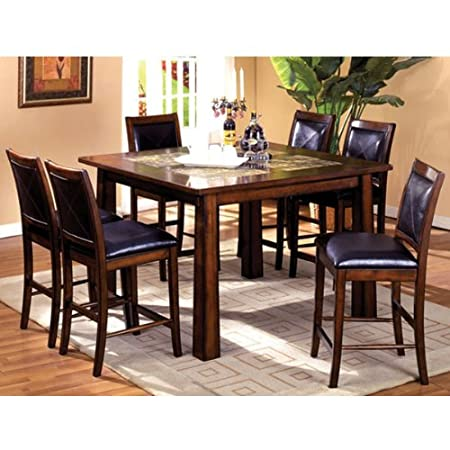 Bavaria Mission Style 5-piece Marble Insert Counter Height Dining Table Set
