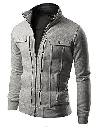 Doublju Mens Highneck Zip Up Jacket GRAY (US-XS)