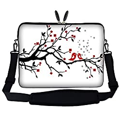 Meffort Inc 17 17.3 inch Laptop Sleeve Bag Carrying Case with Hidden Handle and Adjustable Shoulder Strap - Loving Bird Design