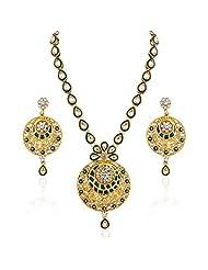 Varaition Green Enamel Kundan Long Necklace Set For Women