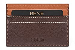 Rene Genuine Leather Brown Color Card Holder with 5 slots